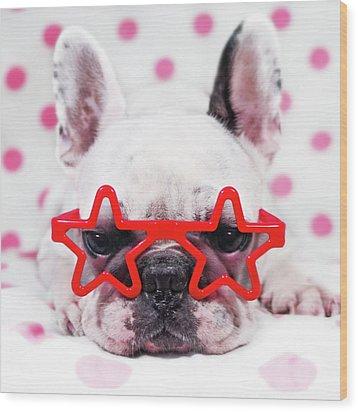 Bulldog With Star Glasses Wood Print by Retales Botijero