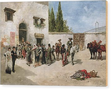 Bullfighters Preparing For The Fight  Wood Print by Vicente de Parades