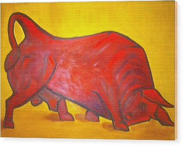 Bulltastic Wood Print