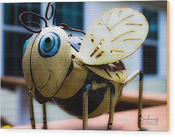 Bumble Bee Of Happiness Metal Sculpture Wood Print by Robin Lewis