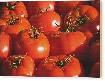 Bunch Of Tomatoes Wood Print by Connie Cooper-Edwards