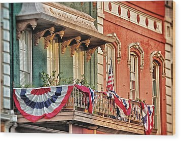 Wood Print featuring the photograph Bunting In Canton Square  by Jim Albritton