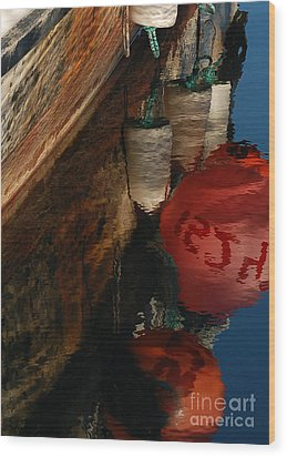 Buoy Reflection I Wood Print by Chuck Flewelling