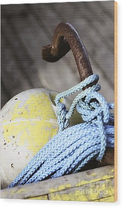 Wood Print featuring the photograph Buoy Rope And Anchor by Agnieszka Kubica