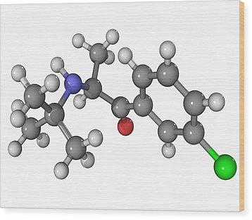Bupropion Antidepressant Drug Molecule Wood Print by Laguna Design