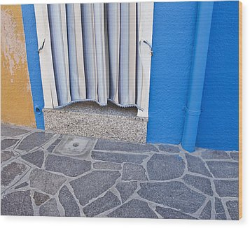 Burano Venice Italy Photograph Blue White Orange Wall Art Wood Print by Artecco Fine Art Photography
