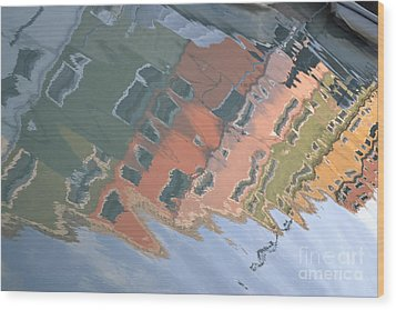 Wood Print featuring the photograph Burano House Reflections by Rebecca Margraf