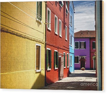 Burano Island - Colorful Houses Wood Print by Gregory Dyer