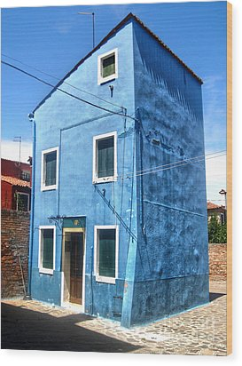 Burano Island - Strange Blue House Wood Print by Gregory Dyer