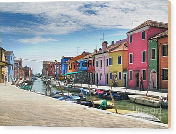 Burano Island Canal Wood Print by Gregory Dyer