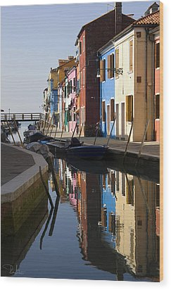 Wood Print featuring the photograph Burano View  by Raffaella Lunelli