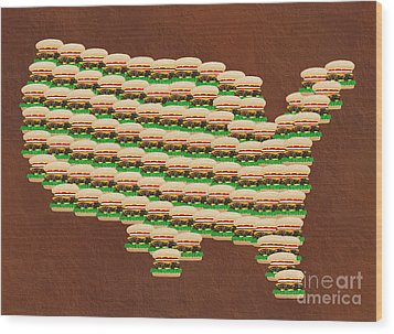 Burger Town Usa Map Brown Wood Print by Andee Design