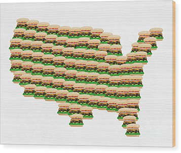 Burger Town Usa Map White Wood Print by Andee Design