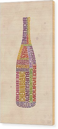 Burgundy Wine Word Bottle Wood Print by Mitch Frey