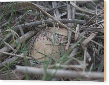 Wood Print featuring the photograph Buried Baseball by Stephanie Nuttall