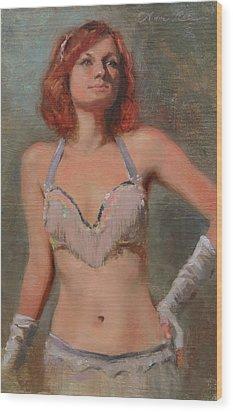 Burlesque Dancer Wood Print by Anna Rose Bain