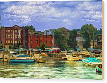 Wood Print featuring the photograph Burlington Harbor In Vermont by Gina Cormier