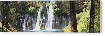 Burney Falls Panorama Wood Print by Michael Courtney