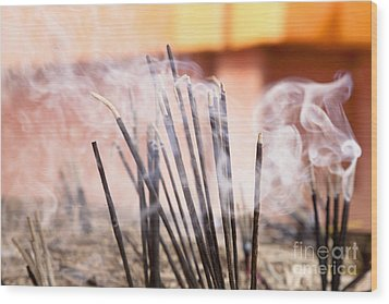 Burning Incense Wood Print by Inti St. Clair