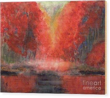 Burning Lake Wood Print by Yoshiko Mishina