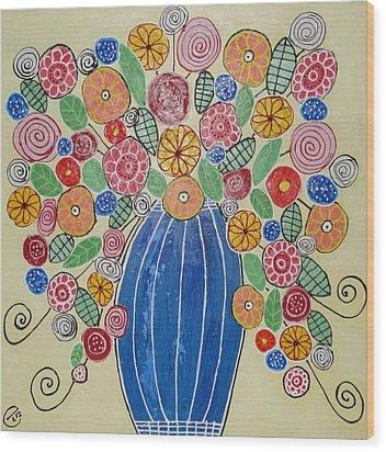 Burst Of Flowers Wood Print by Elizabeth Langreiter