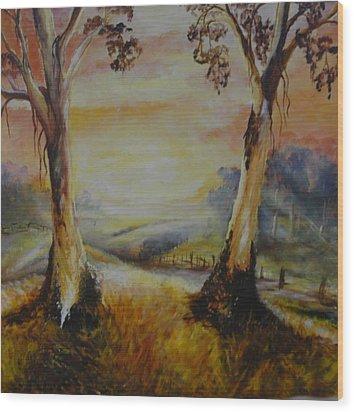 Bush Sunrise Wood Print