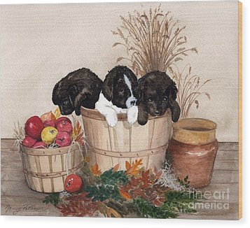 Wood Print featuring the painting Bushel Of Fun  by Nancy Patterson