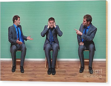 Businessman Argument Wood Print by Richard Thomas