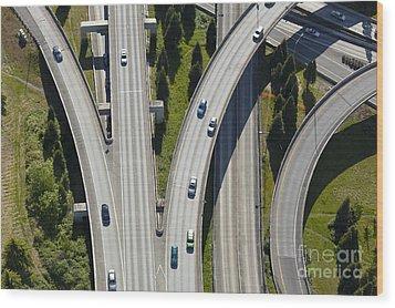 Busy Freeway Interchange Wood Print by Don Mason