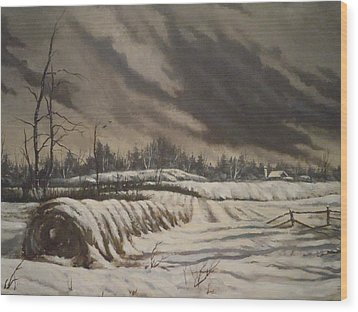 Wood Print featuring the painting Butler Farm In Winter by James Guentner