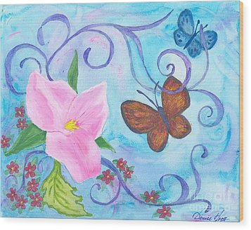Butterflies And Flowers Wood Print by Denise Hoag