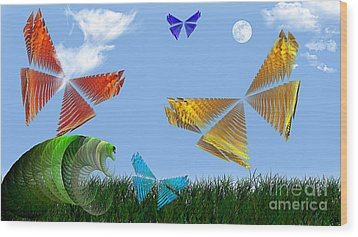 Butterflies Are Free To Fly Wood Print by Andee Design