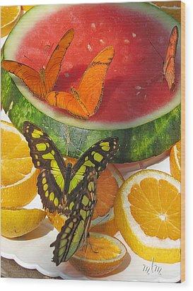 Butterflies At Dinner Wood Print