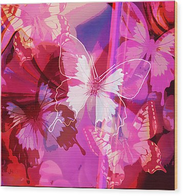 Butterflies En Rouge Wood Print by Jan Steadman-Jackson