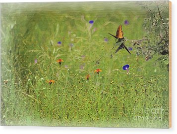 Butterflies Making Love In The Meadow Wood Print