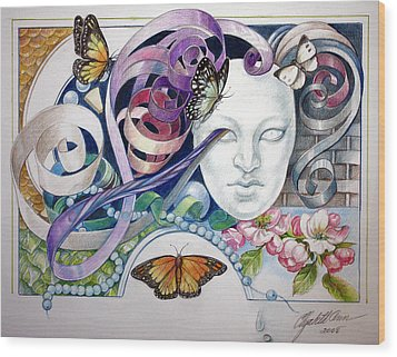 Butterflies With Mask Wood Print by Elizabeth Shafer