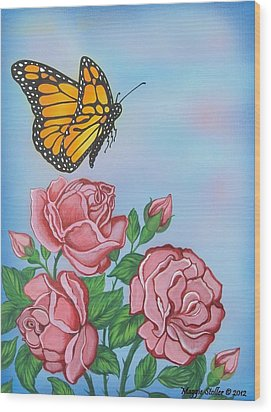 Butterfly And Roses Wood Print by Margaret Stoller