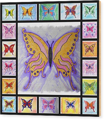 Butterfly Collage Wood Print by Mark Schutter