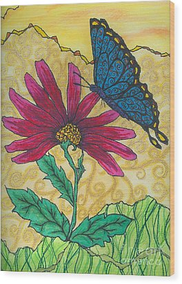 Butterfly Explorations Wood Print by Denise Hoag