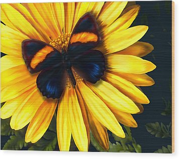 Butterfly On Yellow Wood Print by Virginia Palomeque