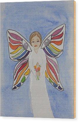 Butterfly People Sympathy Wood Print by DJ Bates