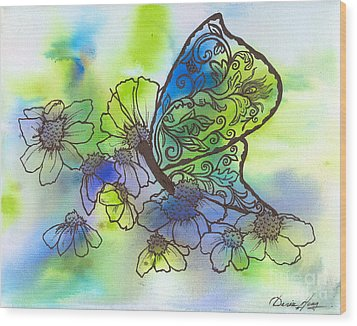 Butterfly Transformations Wood Print by Denise Hoag