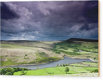 Butterley Reservoir Wood Print by Andy Leader Www.madeinholmfirth.co.uk