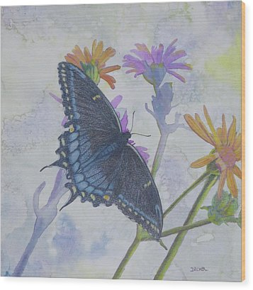 Wood Print featuring the painting Butterly by Robert Decker