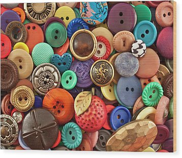 Buttons Wood Print by Jeff Suhanick