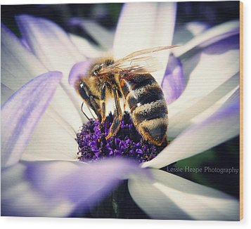 Buzz Wee Bees Wood Print by Lessie Heape