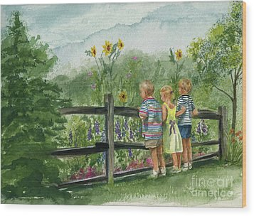 Wood Print featuring the painting By The Garden Fence  by Nancy Patterson
