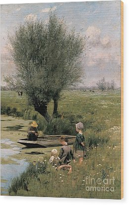 By The Riverside Wood Print by Emile Claus