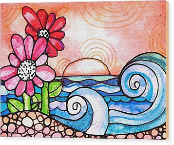 By The Shore Wood Print by Robin Mead