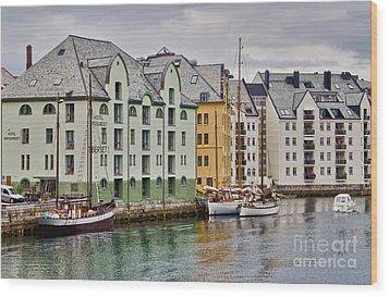 By The Waterside Alesund Norway Wood Print